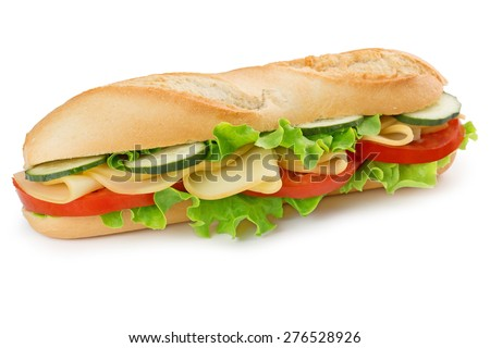 sandwich with cheese, tomato, cucumber and lettuce - stock photo