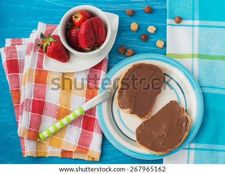 sandwich with chocolate paste - stock photo
