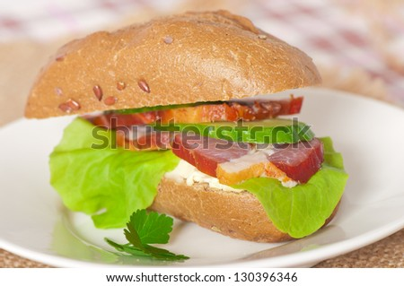 sandwich with cream cheese and smoked bacon