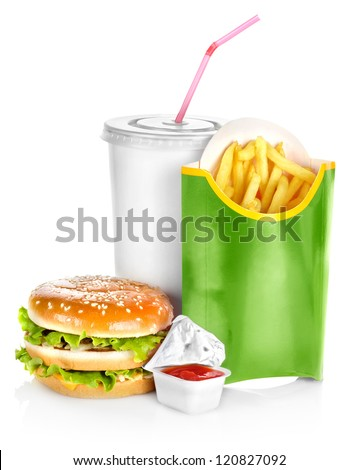 Sandwich with french fries isolated on white background - stock photo
