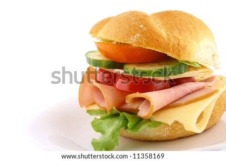 sandwich with fresh salad - stock photo