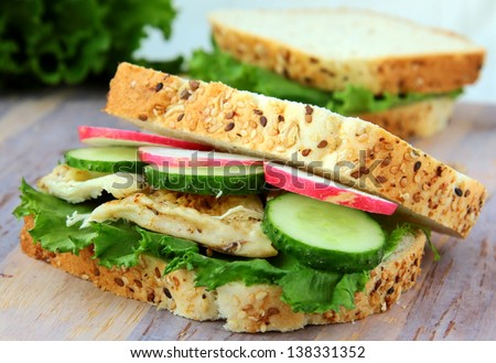 sandwich with fresh vegetables and cold chicken - stock photo