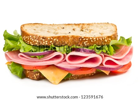 sandwich with ham, cheese and tomato isolated on white background - stock photo