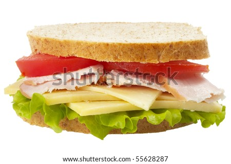 Sandwich with ham, tomato and cheese isolated over white background