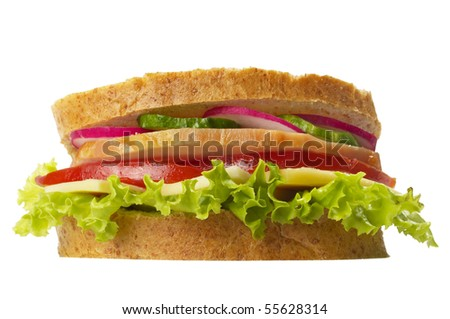 Sandwich with ham, tomato, radish, cucumber and cheese isolated over white background