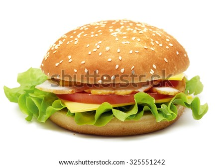 sandwich with hum, cheese, tomatos and lettuce on white. Pen clipping path included
