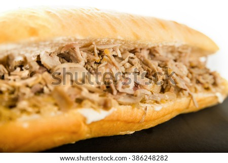 Sandwich with Meat Cutlet Pork on Granite Chopping Board Plate with Sauerkraut Cabbage Salad on White Background. close up of Chicken, Gyros Meat and Vegetables. Delicious Healthy Energy Meal. - stock photo