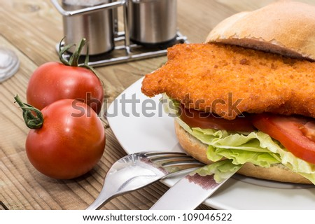 Sandwich with Meat on a plate on wooden background - stock photo