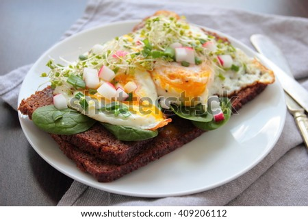 Sandwich with poached egg and vegetables - stock photo