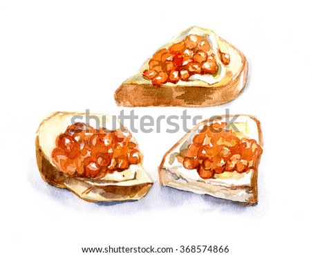 Sandwich with red caviar on a white background. Watercolor. Insulated. - stock photo