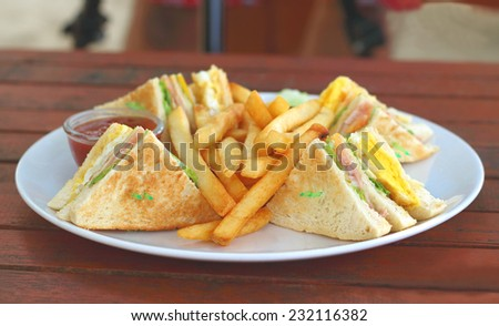 Sandwich with salad and french fries - stock photo