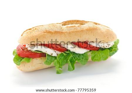 Sandwich with salad, mozzarella and tomato - stock photo
