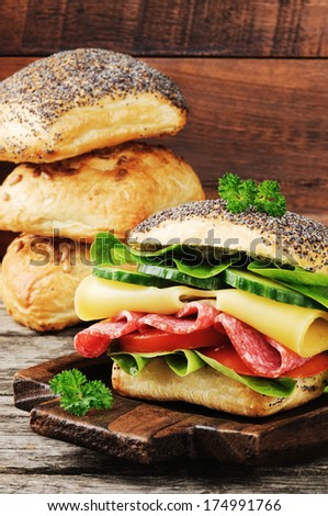 Sandwich with salami and cheese  - stock photo