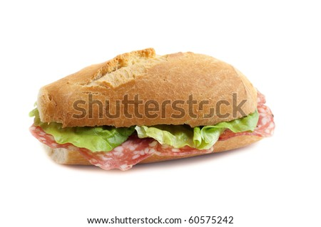 sandwich with salami and lettuce - stock photo