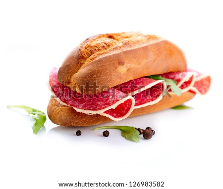 Sandwich with Salami isolated on a White Background - stock photo