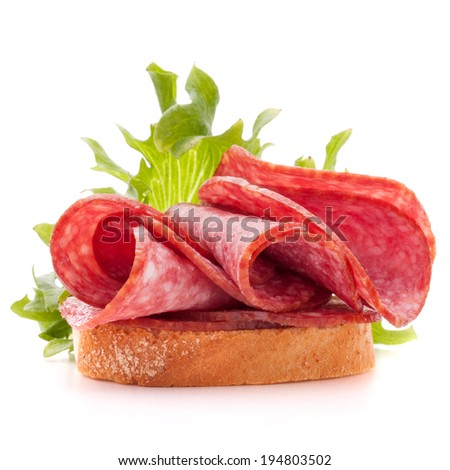 sandwich with salami sausage on white background  cutout - stock photo