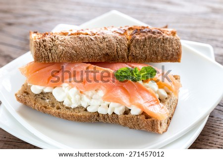 Sandwich with salmon and cheese - stock photo