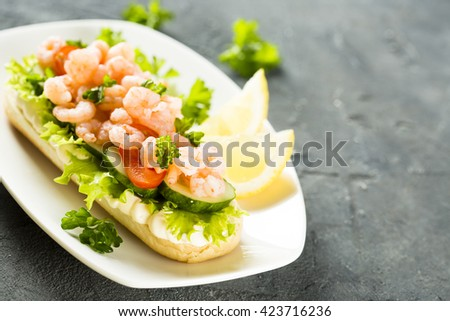 Sandwich with shrimps - stock photo