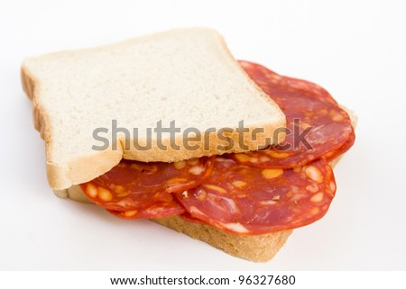 sandwich with slices of sausage