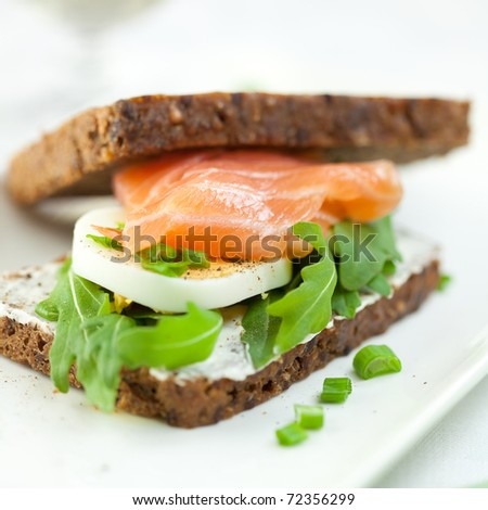 Sandwich with smoked salmon,eggs and arugula - stock photo