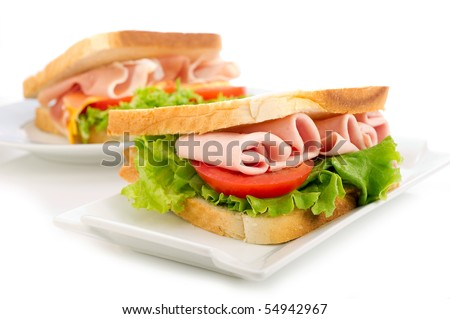 sandwich with turkey tomato and lettuce - stock photo