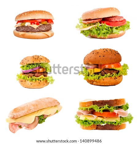 Sandwiches and hamburgers isolated on white background - stock photo