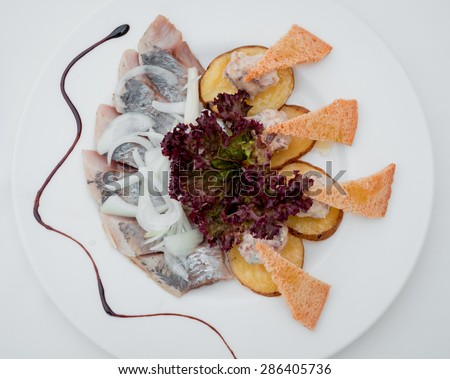 Sandwiches fish and meat on a white plate. Restaurant - stock photo