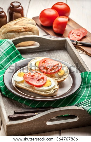 Sandwiches with egg and tomato. Selective focus. - stock photo