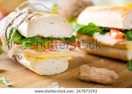 Sandwiches with ham and cheese - stock photo