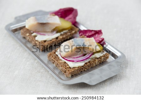 Sandwiches with herring  - stock photo