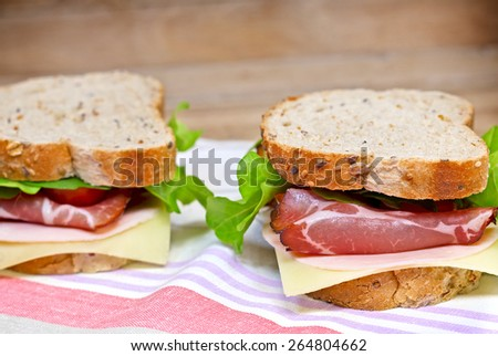 Sandwiches with prosciutto  - stock photo