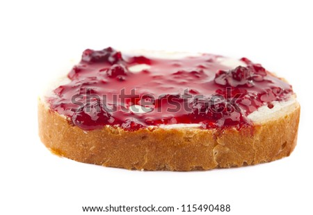 sandwiches with raspberry jam isolated on a white background