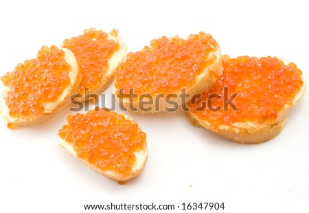 sandwiches with red caviar
