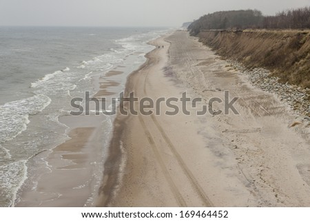 Sandy and cliffs Baltic coast in Poland.