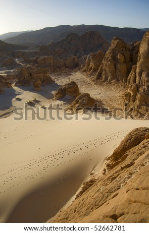 Sandy and rocky desert in the interior of Sinai, Egypt - stock photo