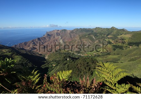 Sandy Bay district on remote St Helena Island - stock photo