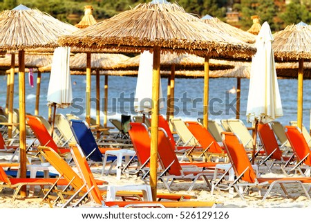 Sandy beach at the coast in Thassos at the coast Photo of a crowded beach at the coast