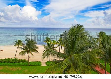 Sandy beach in Cancun, Mexico - stock photo