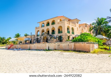 Sandy beach in Varadero with amazing villa . Varadero was once the most luxurious resort on the island. Cuba. - stock photo