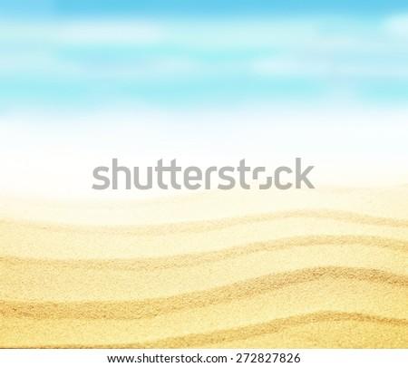 Sandy beach on bright sunny summer day - stock photo