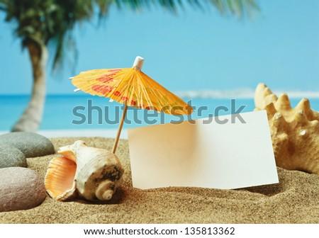 sandy beach on the tropical coast - stock photo