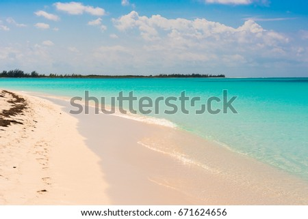 Sandy beach Playa Paradise of the island of Cayo Largo, Cuba. Copy space for text