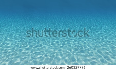 Sandy bottom, blue and surface underwater. 3d render - stock photo