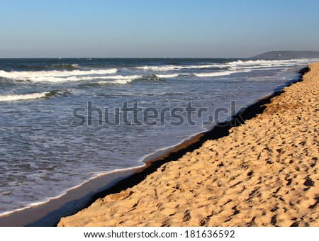 Sandy coastline of the Arabian Sea, North Goa, India - stock photo