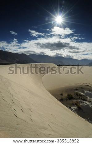 Sandy desert in north India, Ladakh region - stock photo