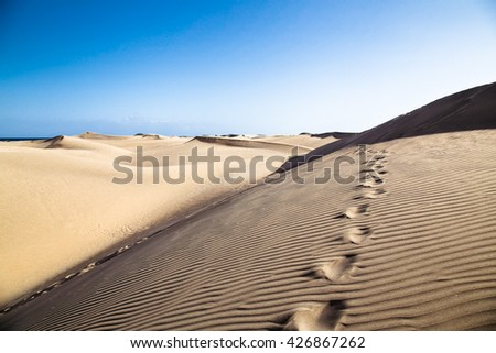 Sandy dunes in famous natural Maspalomas beach on Gran Canaria. Spain - stock photo