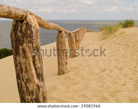 Sandy Dunes on the Curonian Spit in Nida, Neringa, Lithuania. Shallow DOF. - stock photo