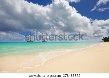 sandy Lanikai Beach and Mokulua Islands, Kailua, O'ahu, Hawai'i - stock photo