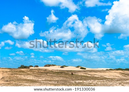 Sandy meadow at Genipabu in Natal, Brazil - stock photo
