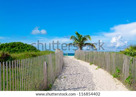 Sandy path leading to the beach in South Beach, Miami - stock photo